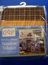 Cocalo~MONKEY MANIA~WINDOW VALANCE~Browns,Blues, Oranges~NEW IN PACKAGE
