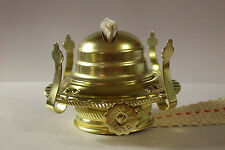 #2 BRASS PLATED OIL BURNER WITH WICK & REMOVABLE SCREW ON COLLAR NEW 54350J