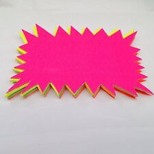 40 x neon flourescent stars - 15cm x10cm assorted neon flashs cards
