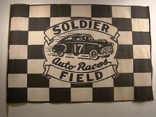 Vintage Early 1950's Stock Car Race Checkered Flag Soldier Field Chicago