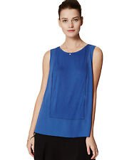 Ann Taylor LOFT - S - NWT - Royal Blue Paneled Ladder Lace Mixed Media Shell Top