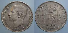 SPAGNA 5 PESETAS 1884 (84) MS M ALFONSO XII MB