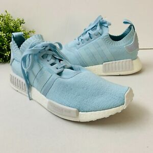 Adidas Womens NMD R1 Sneaker BY8763 Primeknit 'France' Sz 11 Icey Blue White