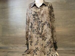 Norton McNaughton Women's  Button-up Shirt, size 1X  SHEER BROWN PAISLEY 3/4 SLV