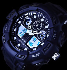Akzent Analog Digital Herren Armband Uhr Blaue Ziffern-Beleuchtung  Weiß Schwarz