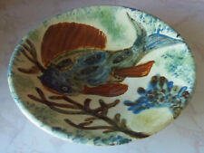 "Large Spanish 13 1/2"" Puigdemont Ceramic Wall Plate Fish Decoration"