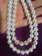 "AAAAA long round 36""10-11mm NATURAL REAL south sea white pearl necklace 14K gold"