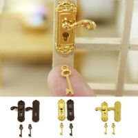 1 Pcs 1/12 Scale Vintage Miniature Door Lock and Key Doll House Door Accessories