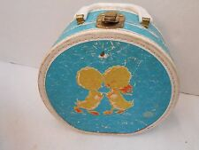 Vintage Antique Neevel Child's Suitcase Luggage Flocked Duck 1950 Prop Doll Case