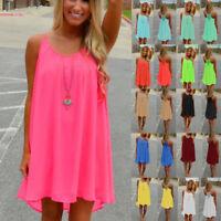 AU Women's Summer Casual Sleeveless Evening Party Beach Dress Short Mini Dresses