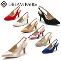 DREAM PAIRS Women's Low Heel Pumps Pointed Toe Slip On Fashion Dress Shoes