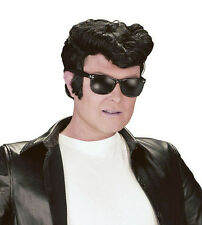Greaser Wig Black Style Danny Teddy Boy Elvis 50's Quiff  Fancy Dress Accessory
