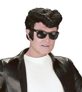 Greaser Style Wig Black Danny Teddy Boy 50's Wig Quiff  Fancy Dress Accessory