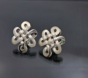18K White Gold Filled Stunning Italian Smooth Celtic Knot 18ct GF Earrings 25mm
