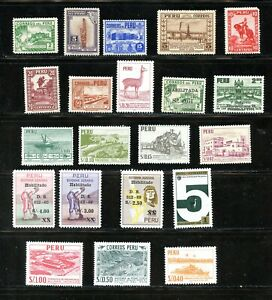 LOT 91591 MINT H COLLECTION OF TWENTY ONE STAMPS FROM PERU