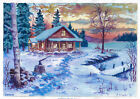 original painting A3 121BOK art samovar acrylic Modern winter landscape sunset