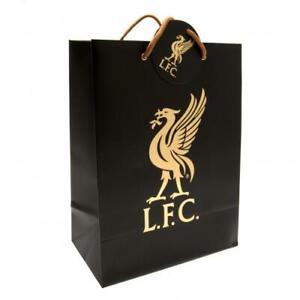 """Liverpool FC Gift Bag Gold LFC Liverbird Crest 13"""" x 9.6"""" Official Merchandise"""