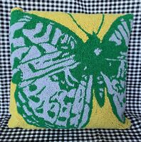 "New GRANDIN ROAD Butterfly Wool Blend 16 - 18"" Needlepoint Pillow Cover & Insert"