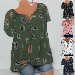 Womens Ladies Loose T Shirt Chiffon Short Sleeve Tee Holiday Blouse Strappy Tops