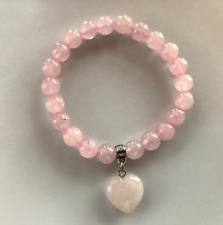 UK. Love Heart Rose Quartz Crystal Gemstone Bead Bracelet. Reiki Chakra