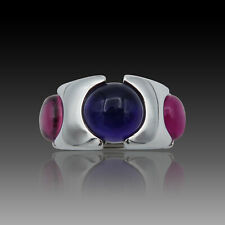 Bague FRED or gris 18K Collection Taquine Amethyste et Tourmalines .Taille 53