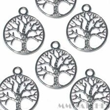 10 TIBETAN BRIGHT SILVER TREE OF LIFE CHARM PENDANTS SIZE 24mmx20mm TS47