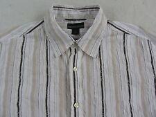 Guess Men's L/S Button Down White, Black & Beige Striped Dress Shirt - Large
