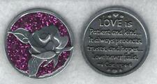 """LOVE IS PATIENT Rose Enamel Sparkle Token Christian Religious Gift 1 1/4"""" Coin"""