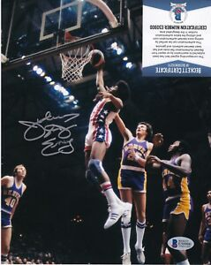 "JULIUS ERVING  ""DR J""   NEW JERSEY NETS  ACTION SIGNED 8x10"
