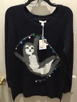 New!Never Worn!Lauren Conrad Sloth Black Tunic Sweater Size M Great 4 Holidays!