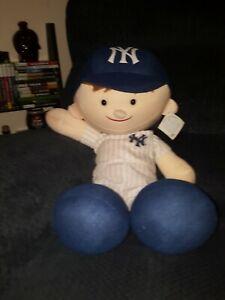"Vintage Team MLB Baseball 30"" Tall Plush Boy Figure NY Yankees Uniform Hat & Tag"