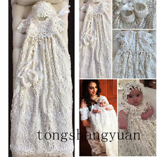 Lace Baby Robe Baptism Dresses For Girl Boy White Ivory Infant Christening Gowns