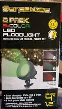 Serpentec~2 Pack ~3 Color Led Floodlights~Christmas Lights Green, Red, white New