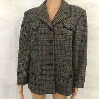 Vintage 1980s Pendleton Size 18 Four Button Womens Blazer Plaid Wool Blend Coat
