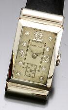 Rare Hamilton Platinum Full Diamond Dial Rectangular Wrist Watch