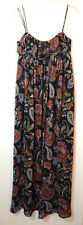 NAVY ORANGE RED LADIES CASUAL LONG DRESS NEW LOOK SIZE 6 PAISLEY FULLY LINED