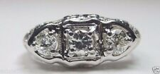 Antique Vintage Diamond Engagement 18K White Gold Ring Size 7 UK-N1/2 EGL USA