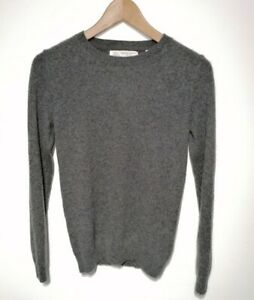 Fat Face South Coast UK 8 Charcoal Grey 100% Cashmere Jumper Long Sleeve Crew