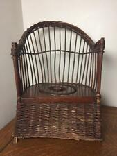 Antique Wicker Wooden POTTY TRAINING CHAIR Childs Wood Commode Seat Lid Vintage