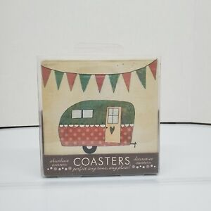 Thirstystone Occasions Happy Camper Set of 4 Coasters Cork Backing FKDC14 NEW
