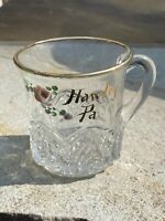 Vintage- Souvenir Glass Mug from- Hawley PA- With Handprinted Rose -Gold Trim