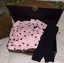 Carter's Black Leggings Pink Polka Dot Cardigan Size 9 months 6-9