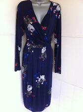 """JOULES""""MONICA""""navy floral stretch jersey dress Vneck crossover draped front14VGC"""