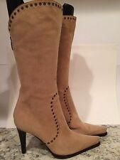 Sergio Rossi Mid Calf Boots Suede Zip Heel Pointy Toe Beige 36/ 6 Italy Nice