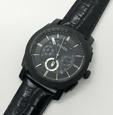 Fossil FS4552 Black Chronograph Stainless Steel Leather Men's Watch 45mm