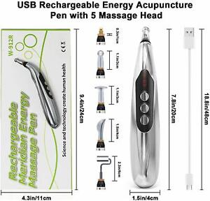 USB Charging Electronic Acupuncture Massage Laser Pen, Fast Pain Relief, 5 Heads