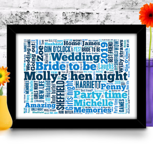 Hen party Bride To Be Gift Wedding Word art print personalised YOUR WORDS