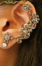 HOCA  1Pc New Charm Vintage Fashion Rhinestone Rose Flower Ear Cuff Stud Earring