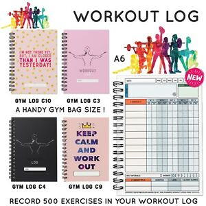 WORKOUT LOG - FITNESS GYM BOOK WEIGHT TRAINING BODYBUILDING REPS SETS A6 LADIES