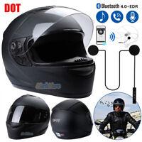 Full Face Motorcycle Helmet Street Bike Matte Black DOT Approved+Headset Speaker